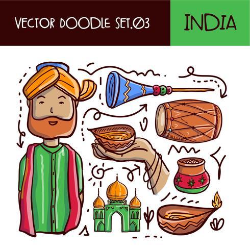 Indischer Tag der Republik-Gekritzel-Ikonensatz vektor