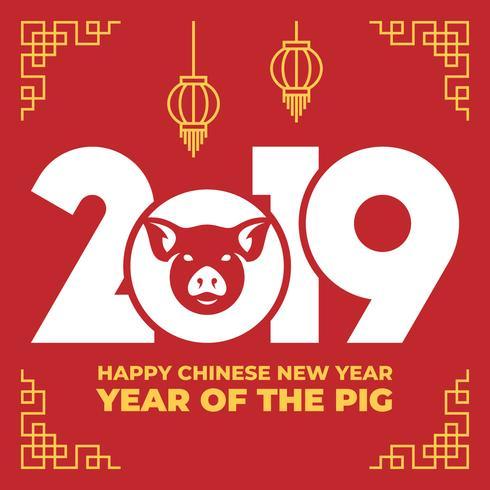 Chinesisches Tierkreis-Zeichen-Jahr der Schablone des roten Schweins 2019 vektor