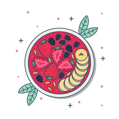 Färg Acai Bowl Vector Illustration