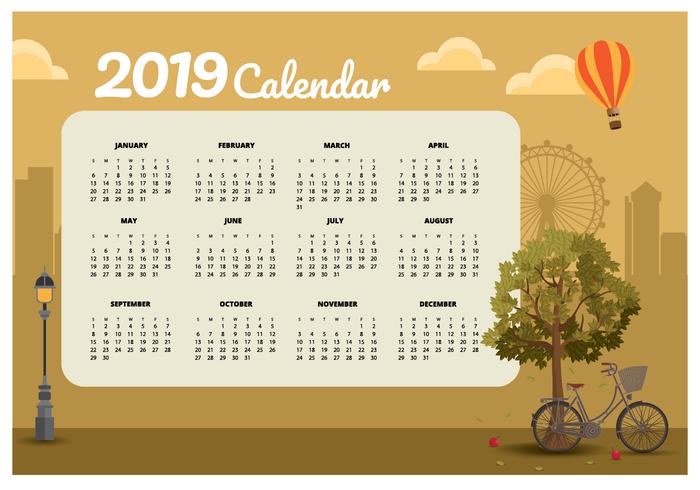 Vintage 2019 Utskriftsbar kalender vektor