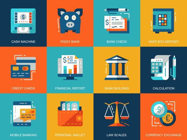Bank och finans ikonuppsättning vektor
