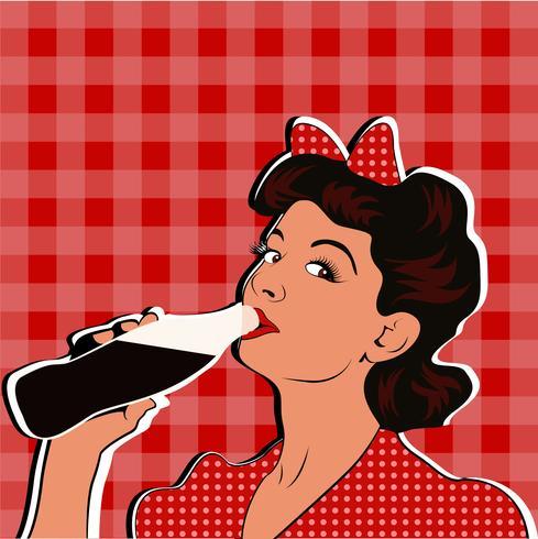 Pin up girl drinking soda pop art retro stil. vektor