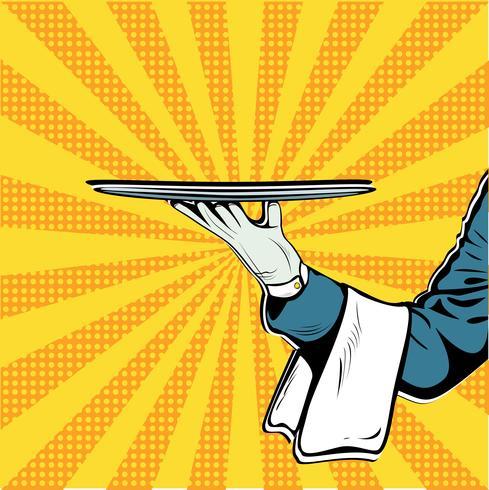 Waiter handbricka presentation pop art retro vektor