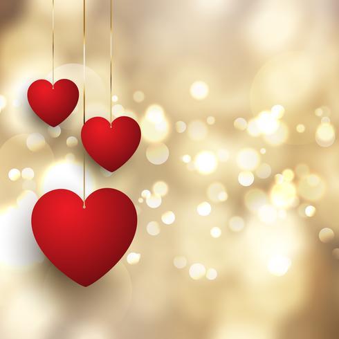 Alla hjärtans dag bakgrund med hängande hjärtan på bokeh lights design vektor
