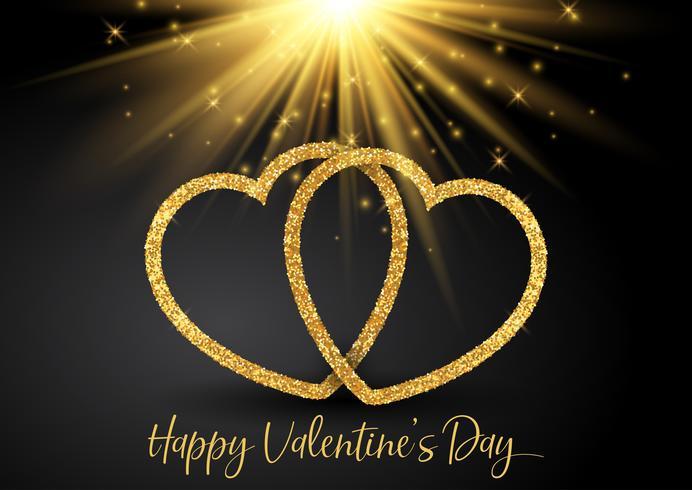 Alla hjärtans dag bakgrund med glittrande hjärtan vektor