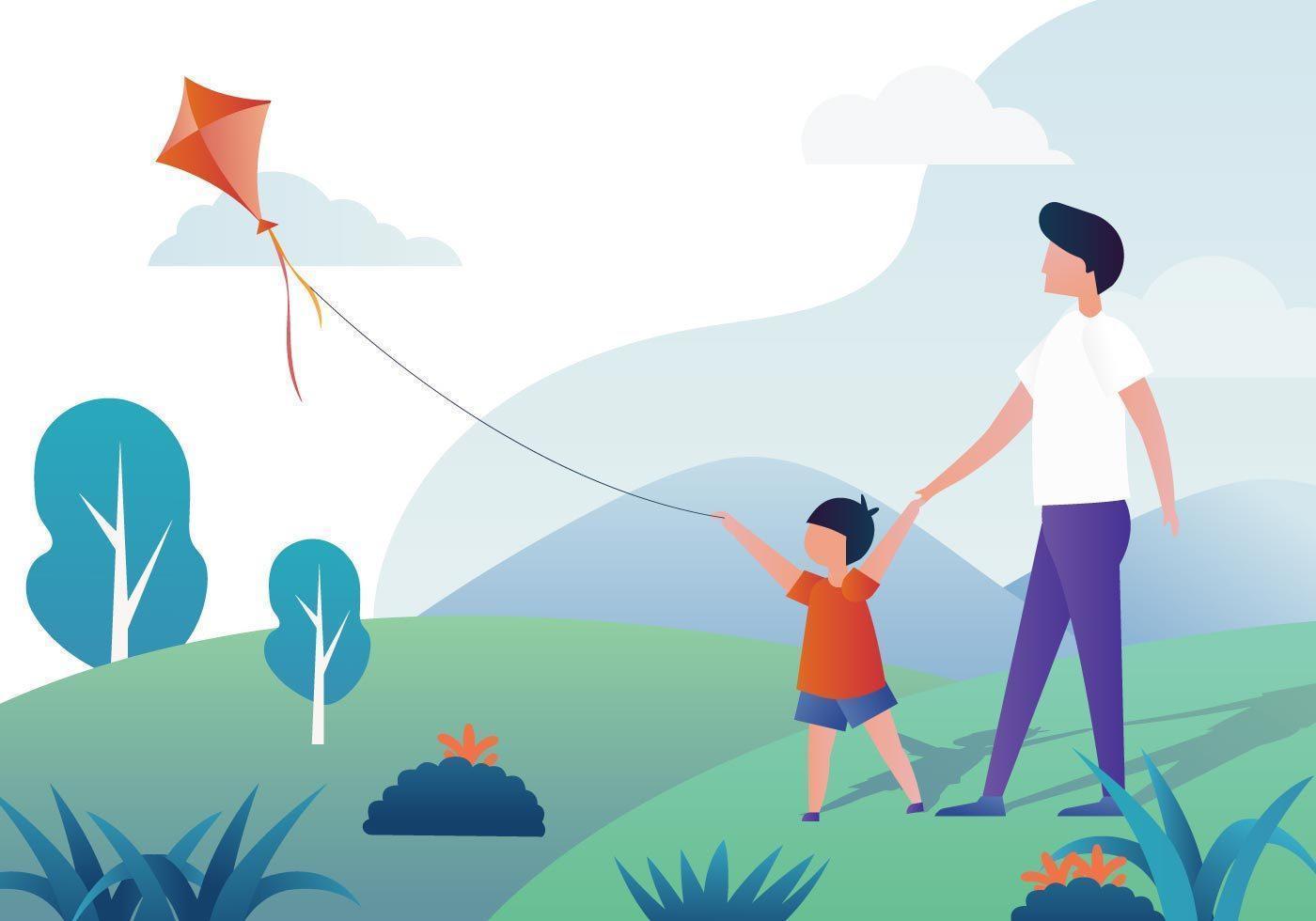 People Flying A Kite vektor
