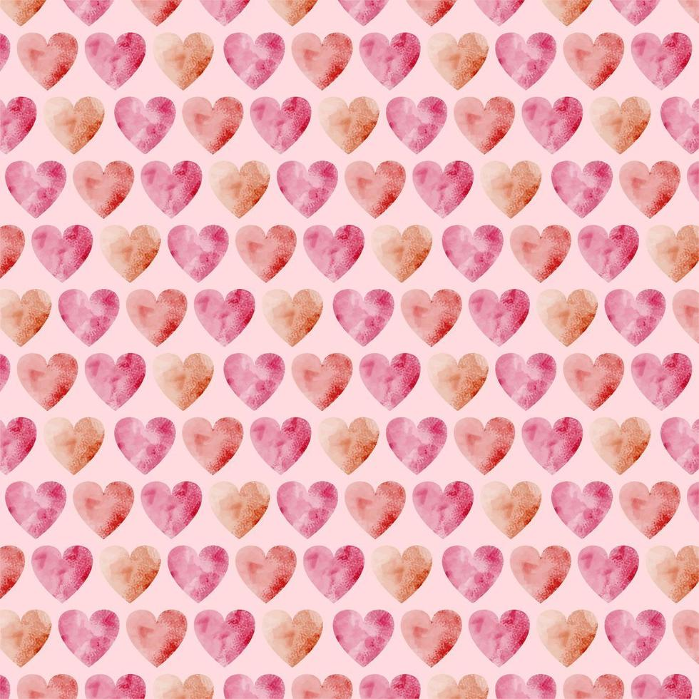 Vector Waterolor Hearts Seamless Pattern