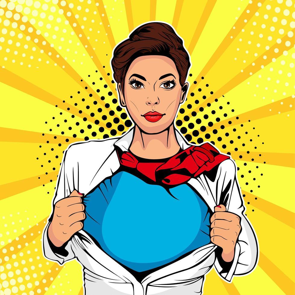 Pop art female superhero vektor