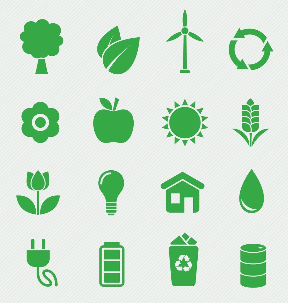Ecology icons set vektor