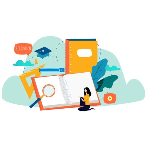 Bildung, Online-Trainingskurse, flache Vektorillustration der Fernunterricht vektor