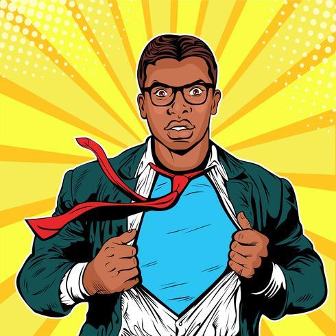 Männliche afroamerikanische Geschäftsmannsuperheld-Pop-Art vektor