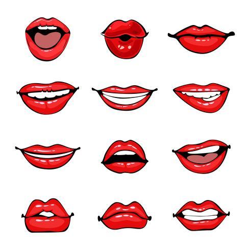 Komische weibliche Lippen eingestellt vektor