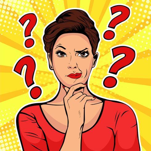 Kvinna skeptiska ansiktsuttryck vektor