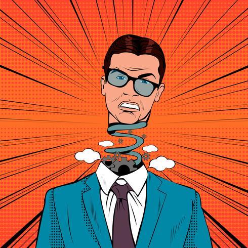 Pop Art betonter Geschäftsmann mit explodierendem Kopf vektor