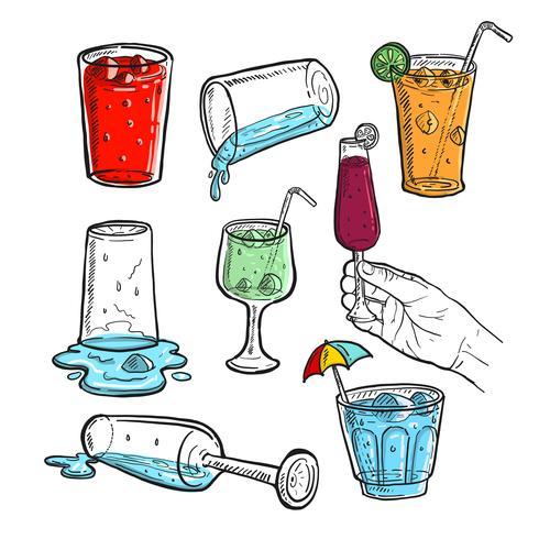 Handdragen skiss av färsk juice, vin och kallt dryck vektor