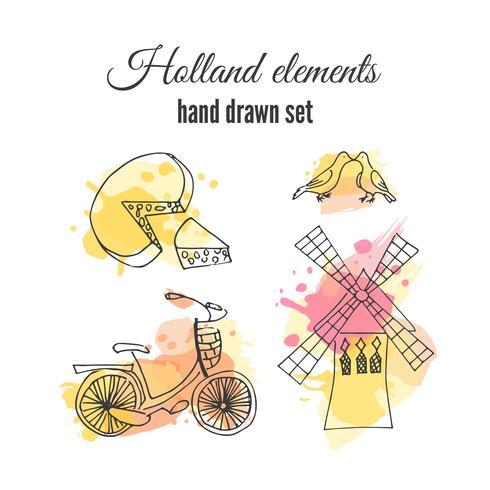 Amsterdamer Fahrrad- und Windmühlensatz vektor
