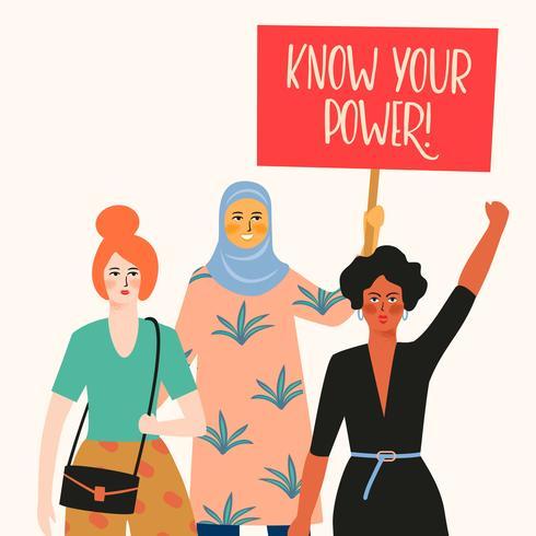 Internationella kvinnodagen. Vektor illustration med kvinnor olika nationaliteter och kulturer.