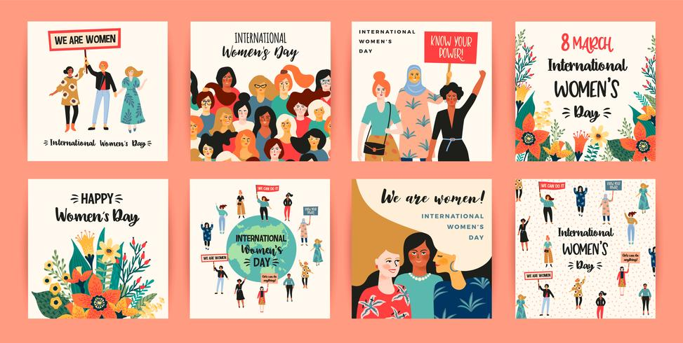 Internationella kvinnodagen. Vektor mallar med kvinnor olika nationaliteter och kulturer.