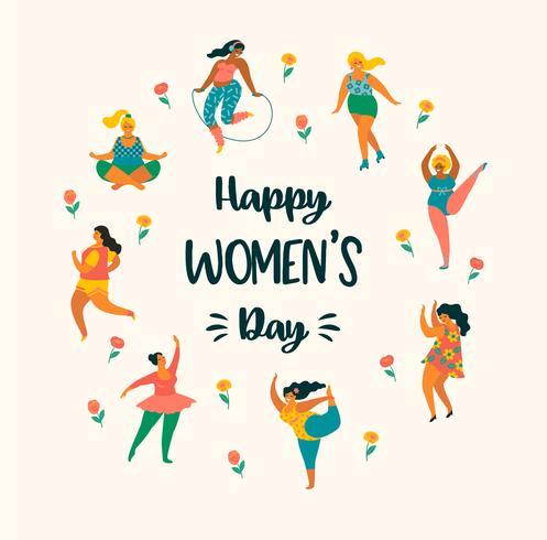 Internationaler Frauentag. Vektorschablone mit netten Frauen. vektor