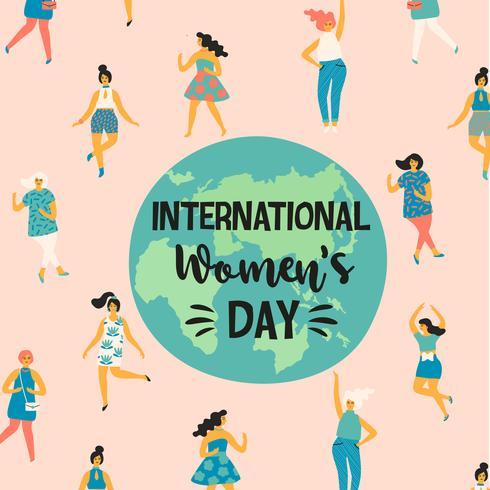 Internationella kvinnodagen. Vektor illustration med dansande kvinnor.
