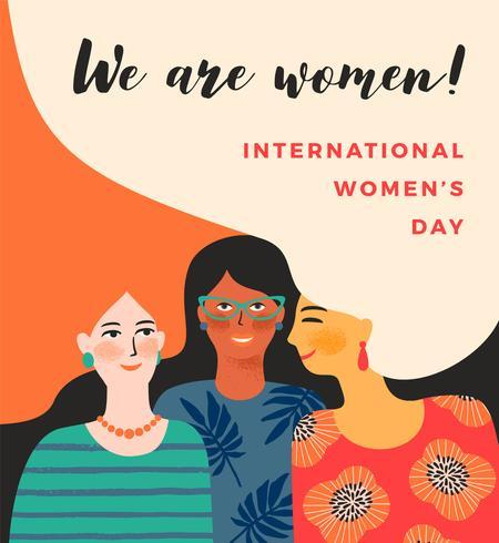 Internationella kvinnodagen. Vektor mall med kvinnor.