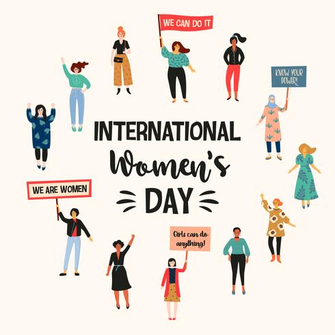 Internationaler Frauentag. Vector Illustration mit verschiedenen Nationalitäten und Kulturen der Frauen.