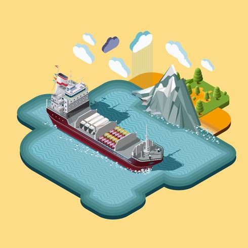 Isometrisk sjöfarts logistik karta vektor