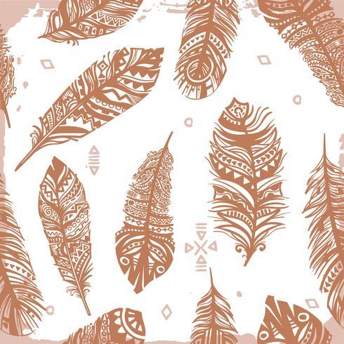 Tappning sömlösa fjädrar etniska mönster, tribal design, tatuering vektor