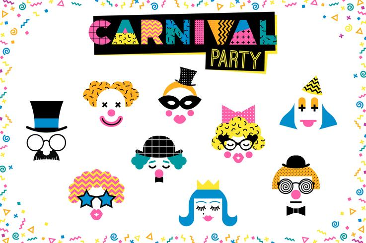 Karnevalsabbildung in Memphis-Art. vektor