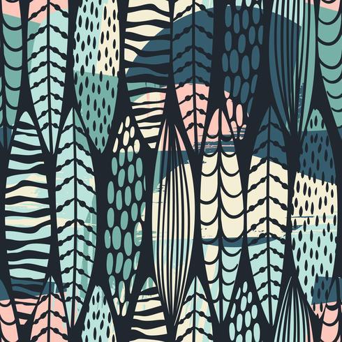Stammes- nahtloses Muster mit abstrakten Blättern. vektor
