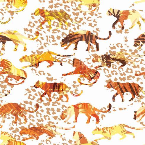 Nahtloses exotisches Muster mit abstrakten Schattenbildern von Tieren. vektor