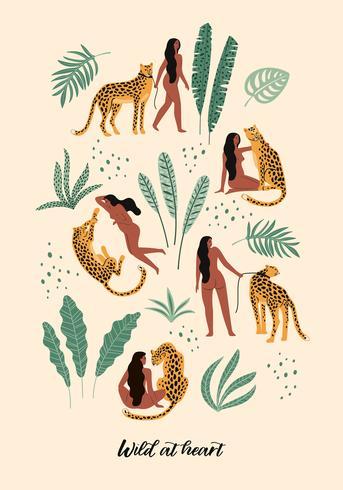 Vild i hjärtat. Vektor illustrationer av kvinna med leopard och tropiska blad.