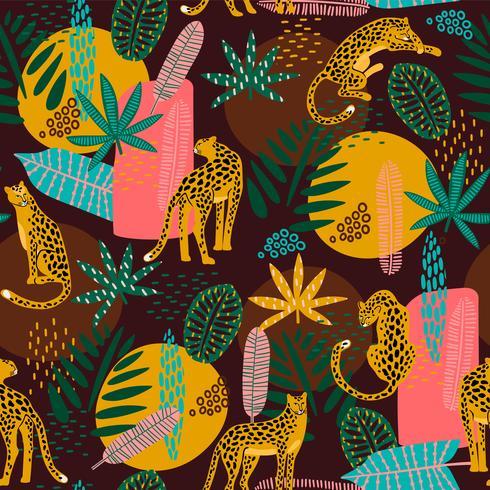 Vestor nahtloses Muster mit Leoparden und abstrakten tropischen Blättern. vektor
