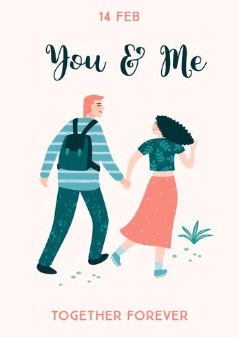 Romantische Abbildung mit Menschen. Vektor-Design-Konzept für Valentinstag und andere Benutzer. vektor