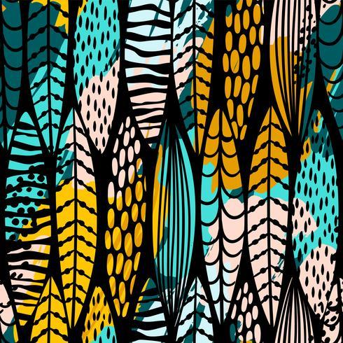 Stamlös sömlös mönster med abstrakta löv. Hand rita textur. vektor