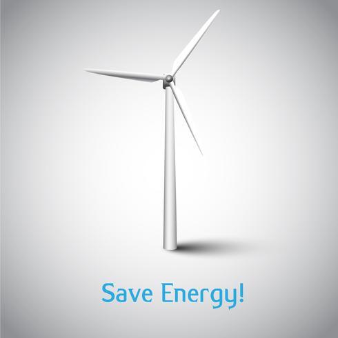 Energie sparen! Vektorabbildung mit Windkraftanlage und Gras vektor