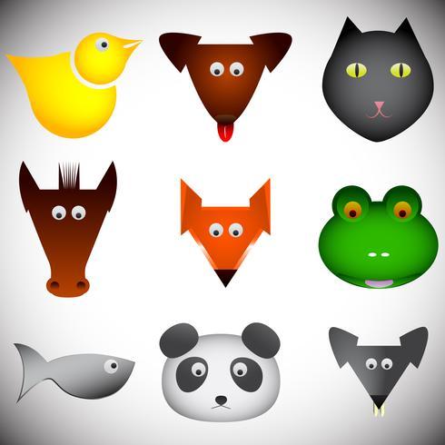 Olika abstrakta djur uppsättning, vektor illustration