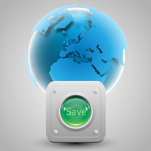 """""""Spara jorden"""" -knappen och jordvektorn vektor"""