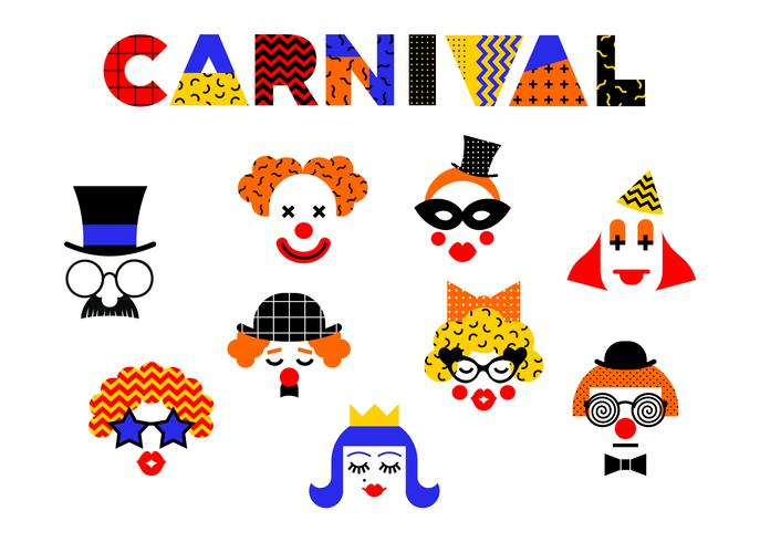 Karneval illustration i Memphis stil. vektor