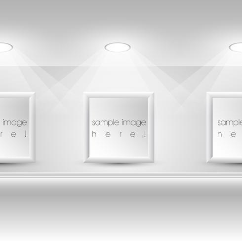 Galleri Interiör med tomma ramar på väggen vektor