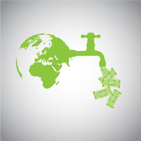 Jorden med pengar vektor