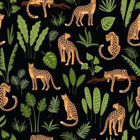 Vestor sömlöst mönster med leoparder och tropiska löv. vektor