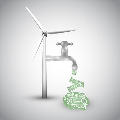 Energie sparen! Windkraftanlage und Geld vektor