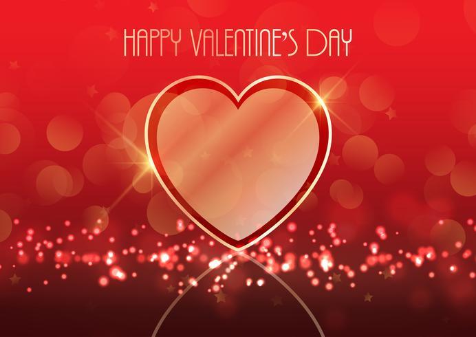 Alla hjärtans dag bakgrund med guld hjärta vektor