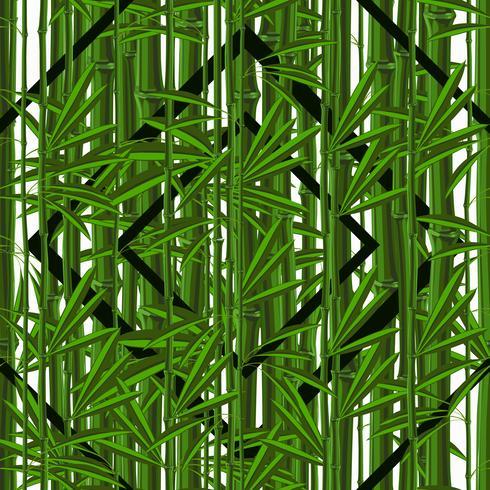 Nahtloses Muster mit tropischem Pflanzenbambus mit Blättern und geometrischen Mustern vektor