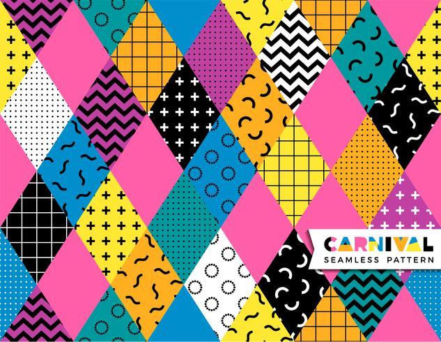 Karnevals sömlös mönster i Memphis stil. vektor
