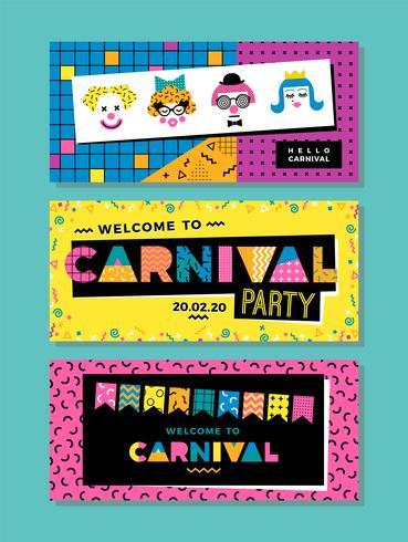 Carnival mallar i Memphis stil. vektor