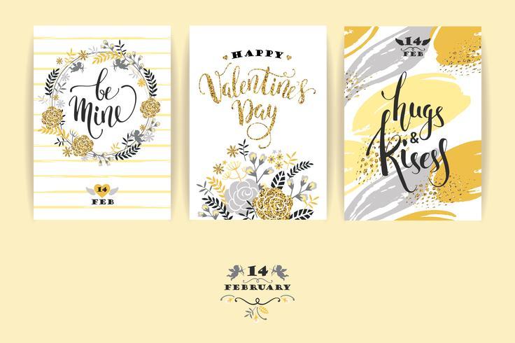 Set glückliche Valentinstagkarten. vektor