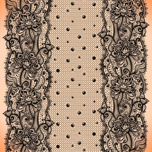 Abstrakt spetsband sömlöst mönster med element blommor och prickar vektor