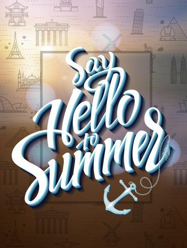 Die Aufschrift hallo Sommer auf einem undeutlichen Hintergrund. vektor